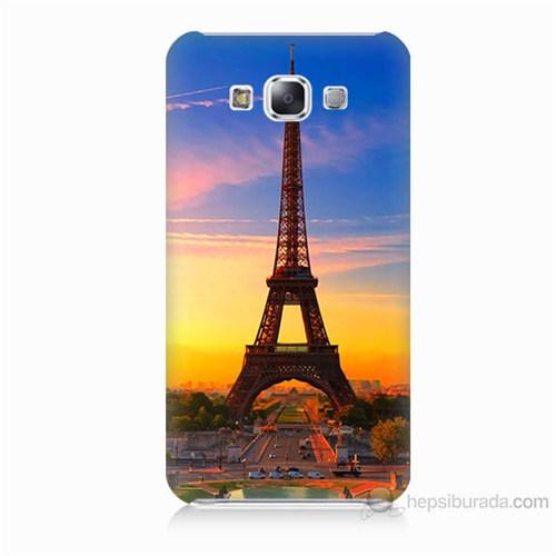 Teknomeg Samsung Galaxy E7 Eyfelde Gün Batımı Baskılı Silikon Kılıf