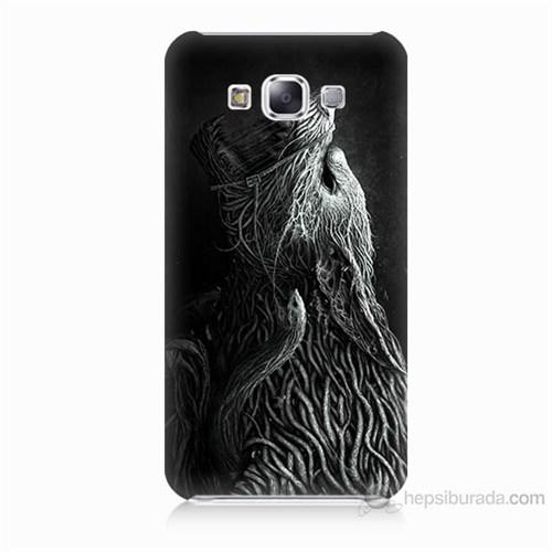 Teknomeg Samsung Galaxy E7 Savaşçı Kurt Baskılı Silikon Kılıf