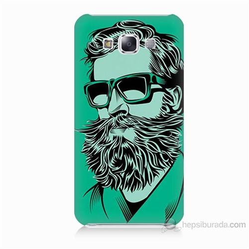Teknomeg Samsung Galaxy E7 Beard Art Baskılı Silikon Kılıf