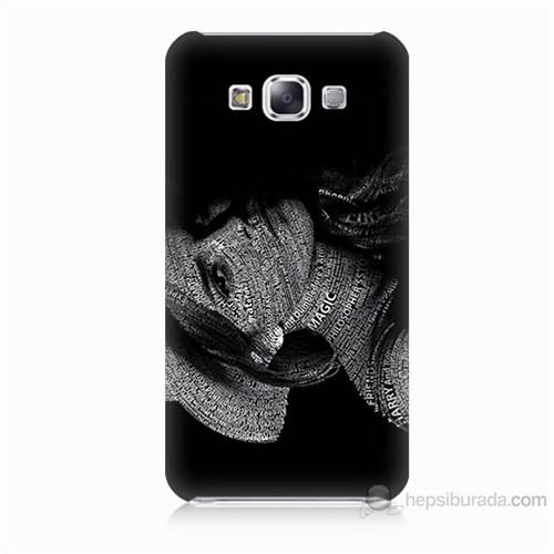 Teknomeg Samsung Galaxy E7 Yazılı Kadın Baskılı Silikon Kılıf