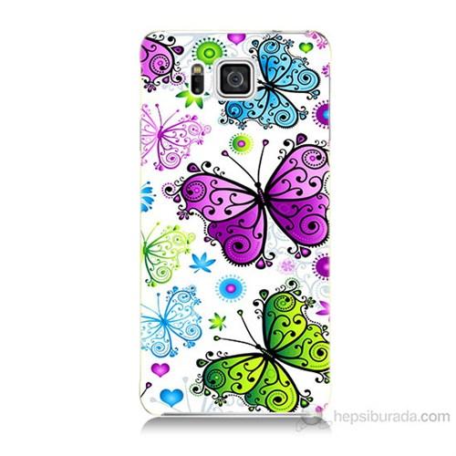 Teknomeg Samsung Galaxy Alpha G850 Renkli Kelebekler Baskılı Silikon Kılıf