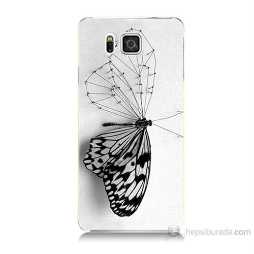 Teknomeg Samsung Galaxy Alpha G850 Kanatsız Kelebek Baskılı Silikon Kılıf