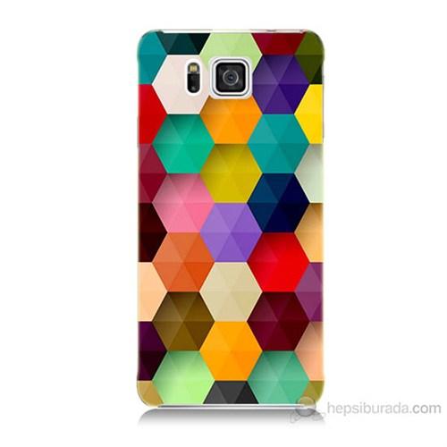 Teknomeg Samsung Galaxy Alpha G850 Renkli Petek Baskılı Silikon Kılıf