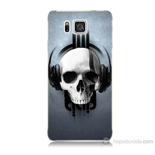 Teknomeg Samsung Galaxy Alpha G850 Müzik Dinleyen Kurukafa Baskılı Silikon Kılıf