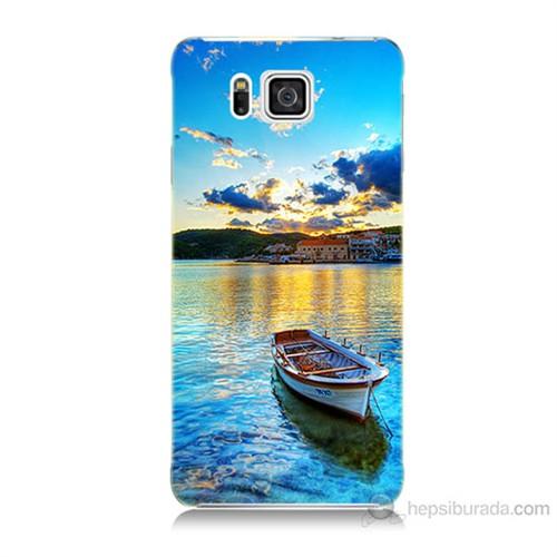 Teknomeg Samsung Galaxy Alpha G850 Gün Batımında Deniz Baskılı Silikon Kılıf