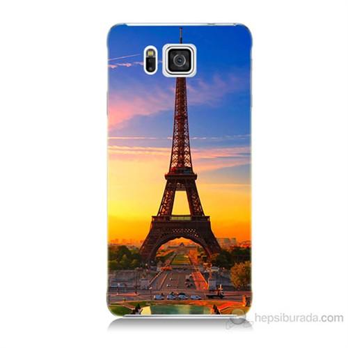 Teknomeg Samsung Galaxy Alpha G850 Eyfelde Gün Batımı Baskılı Silikon Kılıf