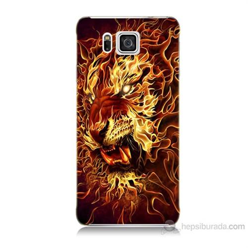Teknomeg Samsung Galaxy Alpha G850 Ateşli Aslan Baskılı Silikon Kılıf