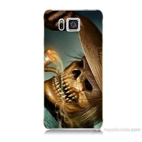Teknomeg Samsung Galaxy Alpha G850 Pipolu Kurukafa Baskılı Silikon Kılıf