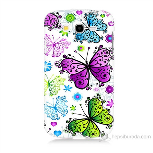 Teknomeg Samsung Galaxy Grand Duos İ9082 Renkli Kelebekler Baskılı Silikon Kılıf