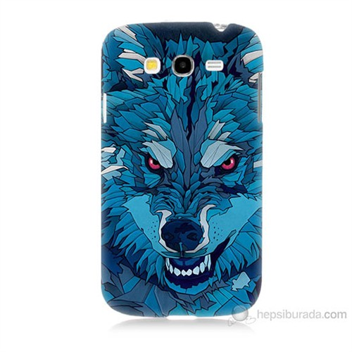 Teknomeg Samsung Galaxy Grand Duos İ9082 Mavi Kurt Baskılı Silikon Kılıf