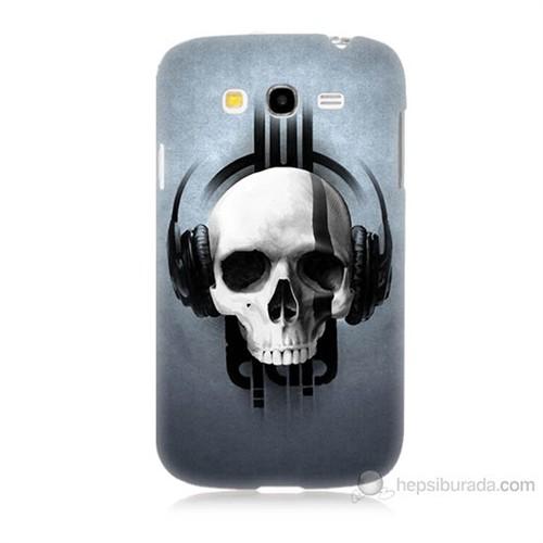 Teknomeg Samsung Galaxy Grand Duos İ9082 Müzik Dinleyen Kurukafa Baskılı Silikon Kılıf