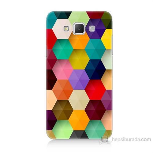 Teknomeg Samsung Galaxy Grand Max Renkli Petek Baskılı Silikon Kılıf