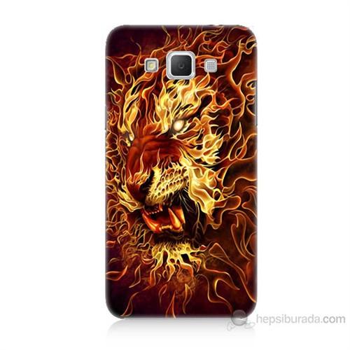 Teknomeg Samsung Galaxy Grand Max Ateşli Aslan Baskılı Silikon Kılıf