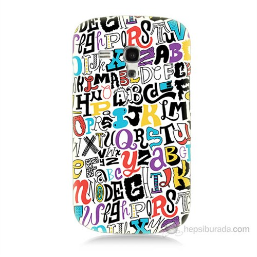 Teknomeg Samsung Galaxy S3 Mini Renkli Harfler Baskılı Silikon Kılıf