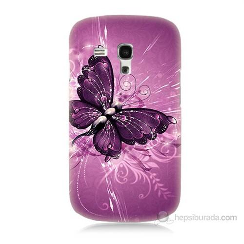 Teknomeg Samsung Galaxy S3 Mini Mor Kelebek Baskılı Silikon Kılıf