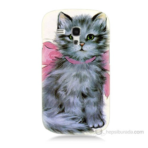 Teknomeg Samsung Galaxy S3 Mini Papyonlu Kedi Baskılı Silikon Kılıf