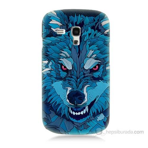 Teknomeg Samsung Galaxy S3 Mini Mavi Kurt Baskılı Silikon Kılıf
