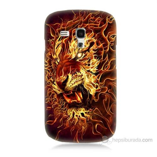 Teknomeg Samsung Galaxy S3 Mini Ateşli Aslan Baskılı Silikon Kılıf