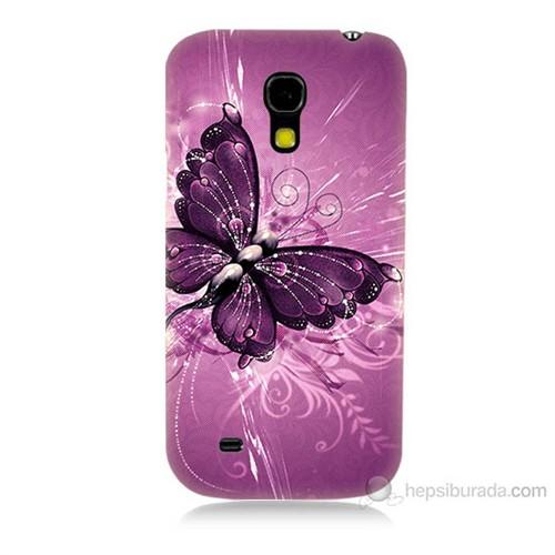 Teknomeg Samsung Galaxy S4 Mini Mor Kelebek Baskılı Silikon Kılıf