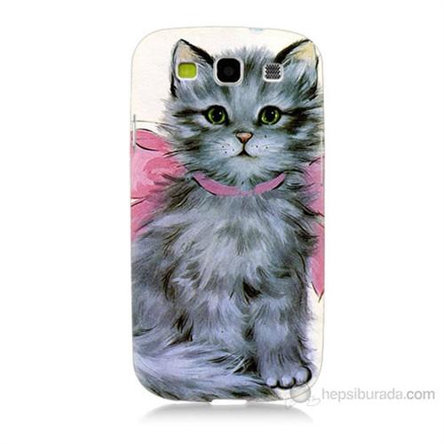 Teknomeg Samsung Galaxy S3 Papyonlu Kedi Baskılı Silikon Kılıf