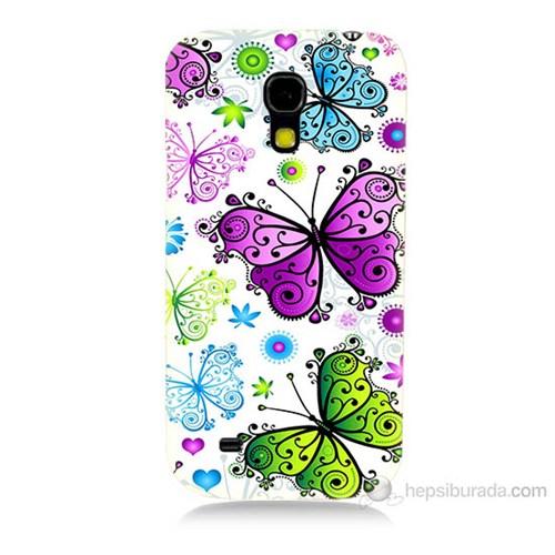 Teknomeg Samsung Galaxy S4 Mini Renkli Kelebekler Baskılı Silikon Kılıf