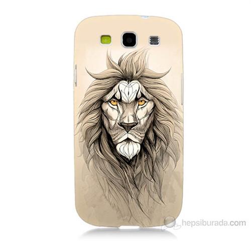 Teknomeg Samsung Galaxy S3 Beyaz Aslan Baskılı Silikon Kılıf