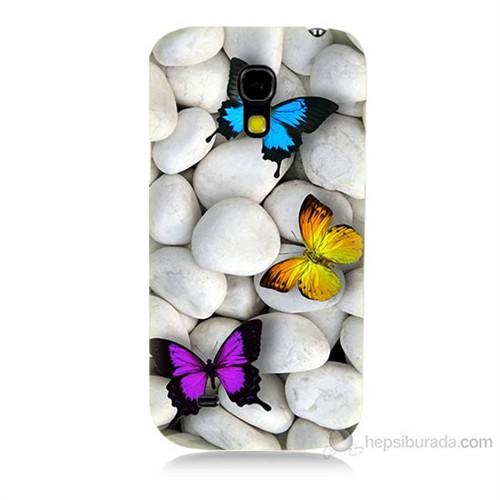 Teknomeg Samsung Galaxy S4 Mini Kelebekler Baskılı Silikon Kılıf