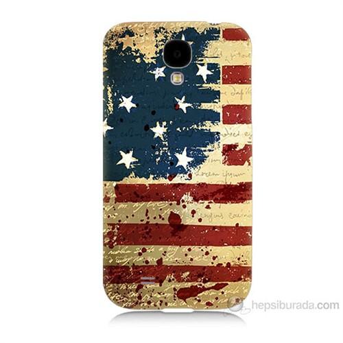 Teknomeg Samsung Galaxy S4 Amerika Bayrağı Baskılı Silikon Kılıf