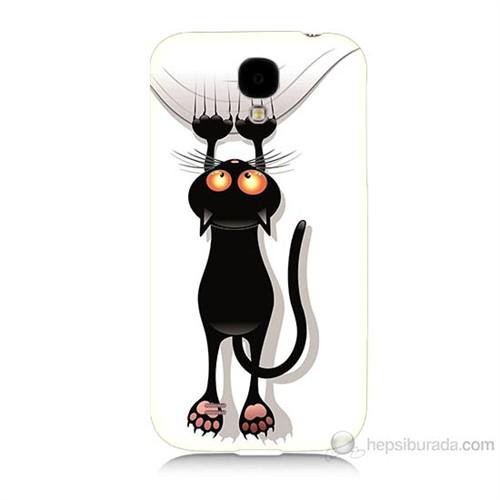 Teknomeg Samsung Galaxy S4 Kara Kedi Baskılı Silikon Kılıf