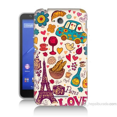 Teknomeg Sony Xperia E4G Paris Love Baskılı Silikon Kılıf