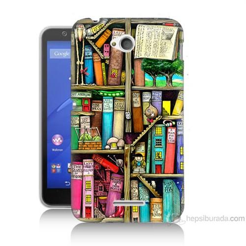 Teknomeg Sony Xperia E4G Kitaplık Baskılı Silikon Kılıf