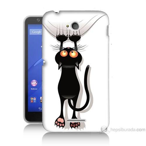 Teknomeg Sony Xperia E4G Kara Kedi Baskılı Silikon Kılıf