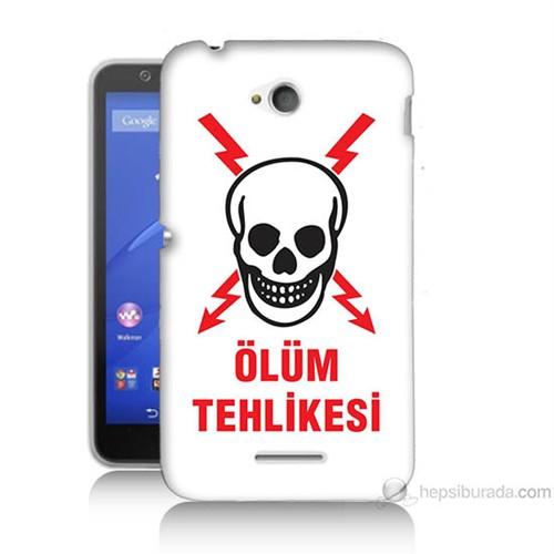 Teknomeg Sony Xperia E4G Ölüm Tehlikesi Baskılı Silikon Kılıf
