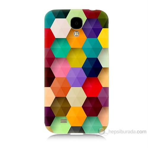 Teknomeg Samsung Galaxy S4 Renkli Petek Baskılı Silikon Kılıf