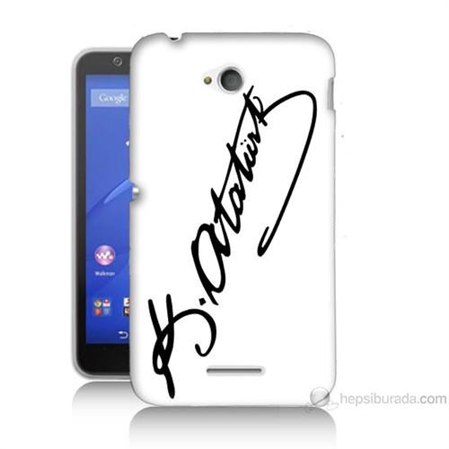Teknomeg Sony Xperia E4G Atatürk İmza Baskılı Silikon Kılıf