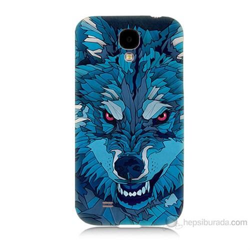 Teknomeg Samsung Galaxy S4 Mavi Kurt Baskılı Silikon Kılıf