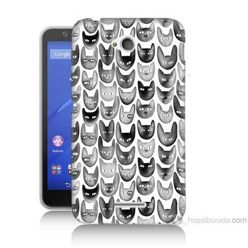 Teknomeg Sony Xperia E4G Kediler Baskılı Silikon Kılıf