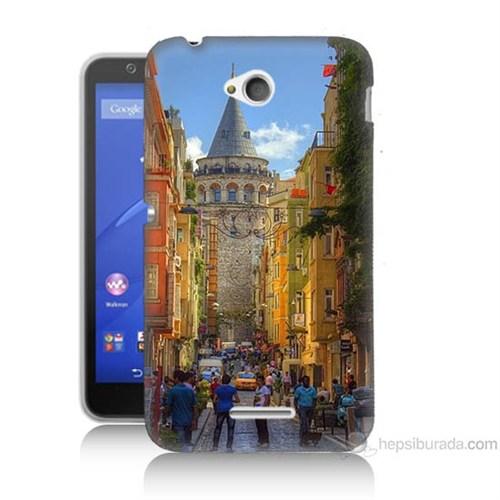 Teknomeg Sony Xperia E4G Galata Kulesi Baskılı Silikon Kılıf