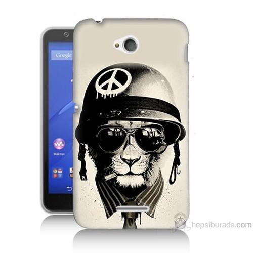Teknomeg Sony Xperia E4G Barışçı Aslan Baskılı Silikon Kılıf