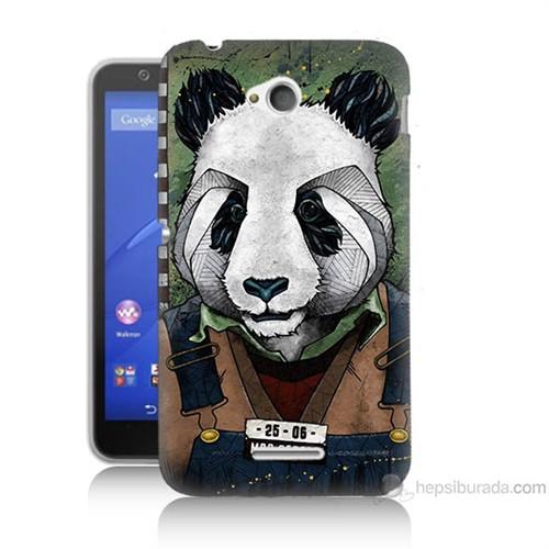 Teknomeg Sony Xperia E4G İşçi Panda Baskılı Silikon Kılıf
