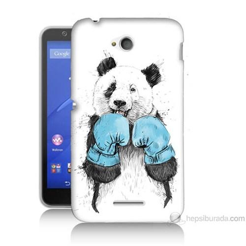Teknomeg Sony Xperia E4G Boksör Panda Baskılı Silikon Kılıf
