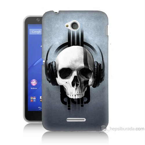 Teknomeg Sony Xperia E4G Müzik Dinleyen Kurukafa Baskılı Silikon Kılıf