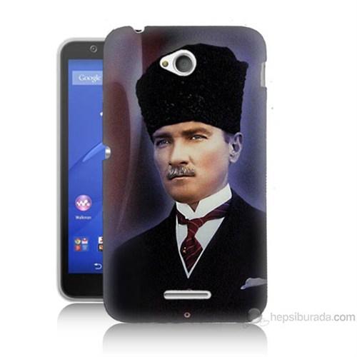 Teknomeg Sony Xperia E4G Mustafa Kemal Atatürk Baskılı Silikon Kılıf