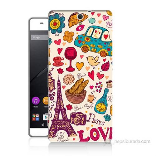 Teknomeg Sony Xperia C5 Paris Love Baskılı Silikon Kılıf