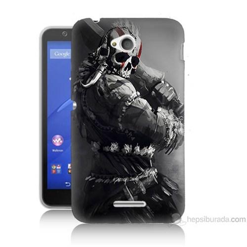 Teknomeg Sony Xperia E4G Tribal Warrior Baskılı Silikon Kılıf