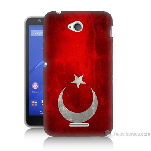 Teknomeg Sony Xperia E4G Türkiye Bayrağı Baskılı Silikon Kılıf