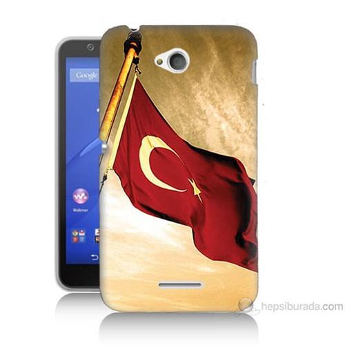 Teknomeg Sony Xperia E4G Türk Bayrağı Baskılı Silikon Kılıf