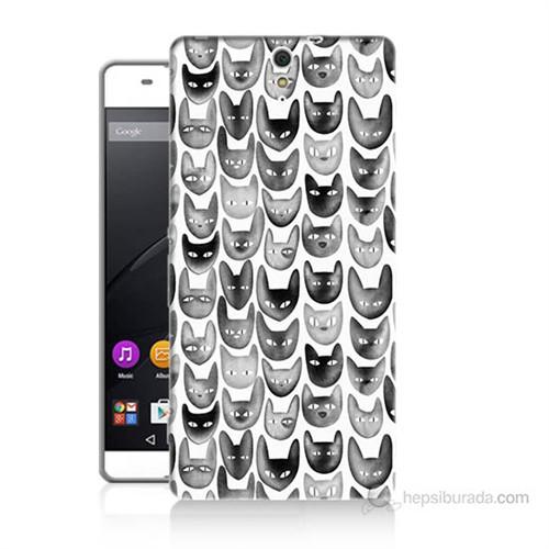 Teknomeg Sony Xperia C5 Kediler Baskılı Silikon Kılıf