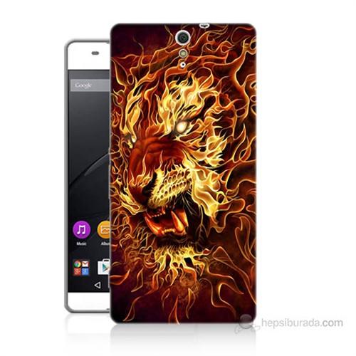 Teknomeg Sony Xperia C5 Ateşli Aslan Baskılı Silikon Kılıf