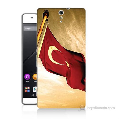 Teknomeg Sony Xperia C5 Türk Bayrağı Baskılı Silikon Kılıf